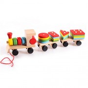YeahiBaby Small Trains Pull Toys Wooden Push Toy Assembled Matching Toys