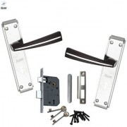 ATOM O-103 Mortice Door Handle Set with Double Stage Locking Woodan Finish 3 Keys