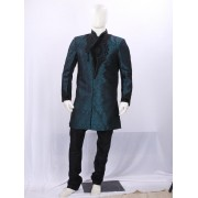 Peacock Green Heavy Embroidered Indowestern - IR6047 - ECIW3
