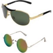 Amour-Propre Aviator Sunglasses(Black, Golden)