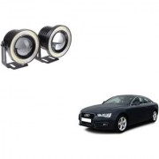 Auto Addict 3.5 High Power Led Projector Fog Light Cob with White Angel Eye Ring 15W Set of 2 For Audi A5
