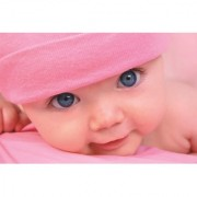 EJA Art Cute Blue Eyes Baby With Pink Cap HD Wallpaper Cute Little Babies Without Frame Paper Poster Size 30X45 cms (With 12 Butterfly Free)