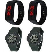 VITREND(R-TM) New Design Silicone LED Watches 7 Lights Digital Sports Combo(Pack of 4) Digital Watch for Boys and Girls