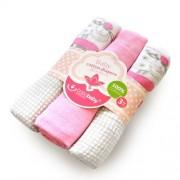 Set 3 scutece textile 80x80 cm - oite roz