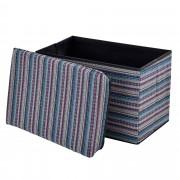 [en.casa]® Skládací taburet - textil - vzor 1 - 48 x 32 x 32 cm