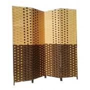 Paravan pliabil decorativ din fibre naturale de bambus crem maron