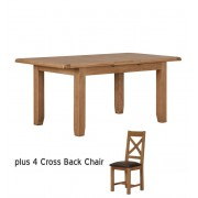 Extendable Square Oak Dining Table - Table + 4 Chairs