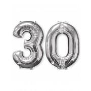 Lote de 2 balões alumínio número 30 prateado