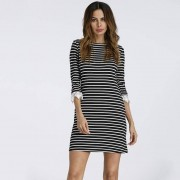 Half Sleeve Ladies Striped T Shirt Dress 2018 Summer Bodycon Causal Mini Dress Robes Vestidos Cotton Knitted Office Work Dress