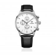 Los Hombres De Negocios De Alta Clase De Lujo Reloj De Cuarzo Dial Leather Strap Watch -plata Y Blanco