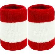 Neska Moda Unisex Pack Of 2 Red And White Striped Cotton Wrist Band