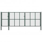 vidaXL Градинска порта, стомана, 500x200 см, зелена