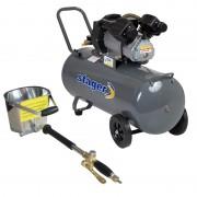 Pachet compresor Stager HM3100V 3CP, 100L, 8bar cu masina de tencuit pneumatica Detoolz, ideal pentru costructii