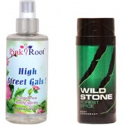 Wild Stone Forest Spice Body Deodorant 150ml and Pink Root High Street Gals Fragrance body Spray 200ml Pack of 2