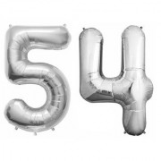 Stylewell Solid Silver Color 2 Digit Number (54) 3d Foil Balloon for Birthday Celebration Anniversary Parties