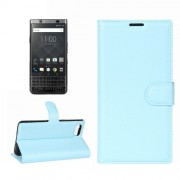 For BlackBerry Keyone Litchi Texture Horizontal Flip Leather Case with Holder & Card Slots & Wallet(Blue)