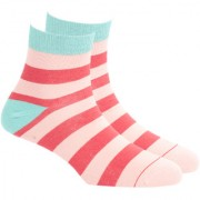 Soxytoes Wide Stripe 3 Pink Cotton Ankle Length Pack of 1 Pair Striped for Men Casual Socks (STS0007B)