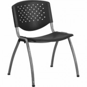 Flash Furniture Plastic Stack Chair - Black w/Titanium, 880-Lb. Capacity, Model RUTF01ABK