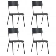 vidaXL Трапезни столове, 4 бр, черни, твърд шперплат, стомана
