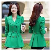 Gabardina De Solapa De La Vendimia De La Moda De Las Mujeres -verde