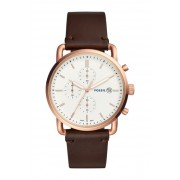 Fossil Mens Commuter Medium Round Leather Strap Watch 42mm NO COLOR