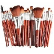 De alta calidad Profesional 22 unids/set Pinceles de Maquillaje Labio de la Ceja(#marrón silver)