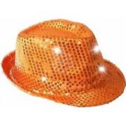 Palarie Trilby cu paiete si LED pentru petreceri portocaliu