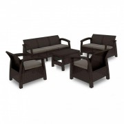 Corfu max set kerti bútor garnitúra, barna színben, meleg taupe párnával