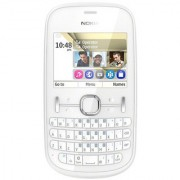 Nokia ASha 200 Dual Sim White Mobile with Battery Charger.