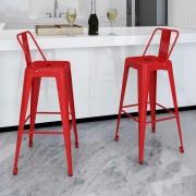 vidaXL Barstolar 2 st fyrkantig röd
