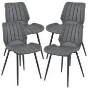 [en.casa]® Silla de comedor Pohorje - 77 x 57,5 x 46 cm - Set de 4 sillas de diseño - Acolchado - De Cuero sintético - Gris oscuro