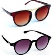 TheWhoop Round Sunglasses(Brown, Violet)