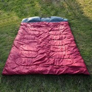 Outsunny Double Sleeping Bag Camping Climbing Trip Use Wine Red Colour
