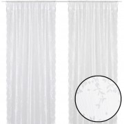 vidaXL 2 Net Curtains with Flowers 140 x 245 cm White
