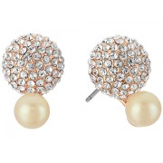 Marc Jacobs Flying Colors Pave Double Bauble Stud Earrings Cream MultiRose Gold