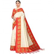 Indian Beauty Women's Red Color Mysore Silk Printed Saree Border Tassels With Blouse Piece(WEDDING-BATAK-RED_Free Size)