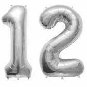 Stylewell Solid Silver Color 2 Digit Number (12) 3d Foil Balloon for Birthday Celebration Anniversary Parties