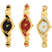 FancyLook Attractive Design Stylish Party Wedding Golden Black White Red Bracelet Analog Watch For Women (Pack Of 3)