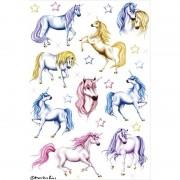 Merkloos 18x Eenhoorn dieren stickers met glitters