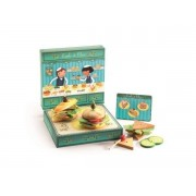 DJECO Drewniany zestaw do robienia kanapek - odgrywanie ról wg wzoru (menu) , DJ06620