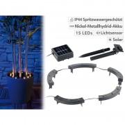 Lunartec Solar-Rundum-Licht für Pflanzen, 15 LEDs, Dämmerungssensor, IP44