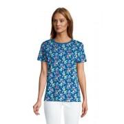 Lands' End Supima Kurzarm-Shirt mit rundem Ausschnitt in Petite-Größe - Blau - 40-42 von Lands' End