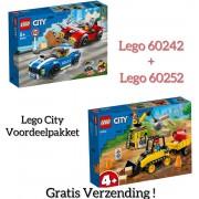 VOORDEEL PAKKET LEGO CITY / LEGO City 4+ Constructiebulldozer - 60252 + LEGO City Politiearrest op de Snelweg - 60242 (GRATIS VERZENDING)