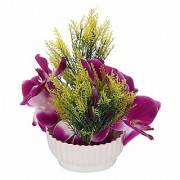 CAAJIB Lucky Charm Artificial Flower Plant with Vase Pot for Home Decor Flowers
