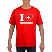 Bellatio Decorations Rood I love Zwitserland fan shirt kinderen L (146-152) - Feestshirts