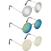 NuVew Round Sunglasses(Grey, Yellow, Green)