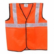 RE-FOX Road safety Jacket Reflective Safety Jacket with 2 Reflective Strips for High Visibility Orange// Set of 5