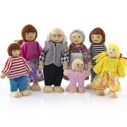 Livoty Wooden Furniture Dolls House Family Miniature 7 People Doll Toy for Kid Child (Black)