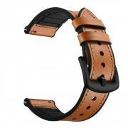 Genuine Leather Coated Silicone Smart Watch Band for Samsung Gear S3 Classic/Frontier - Brown