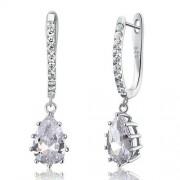 Ezüst fülbevaló, szimulált gyémánt kristállyal - 925 ezüst ékszer